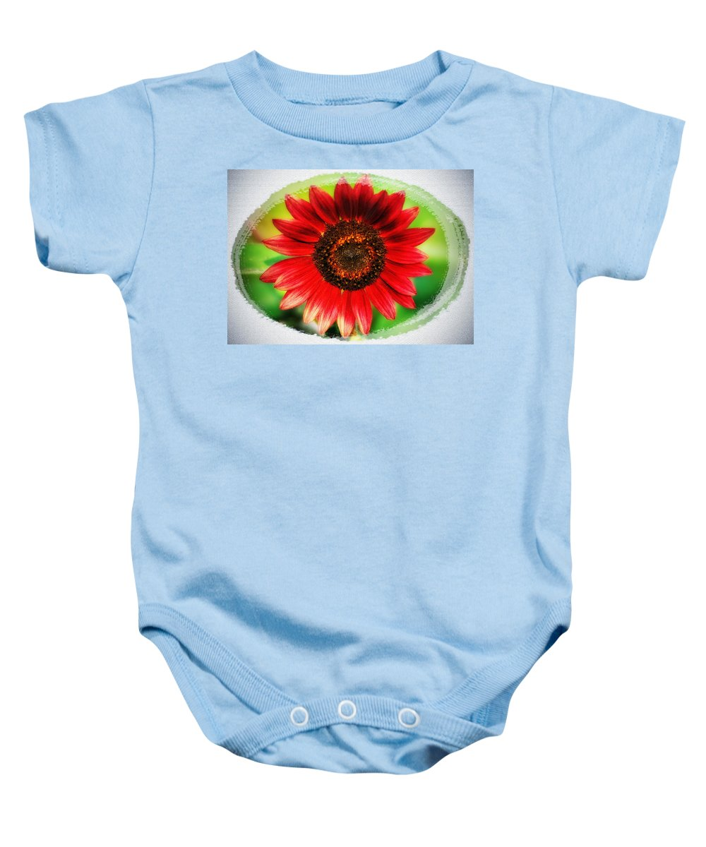 Red Baby Onesie featuring the photograph Red Sun Flower by Bill Cannon