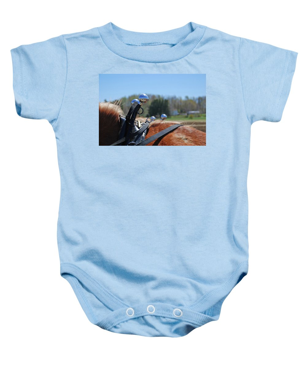 Horse Baby Onesie featuring the photograph Reflections 1604 by Guy Whiteley