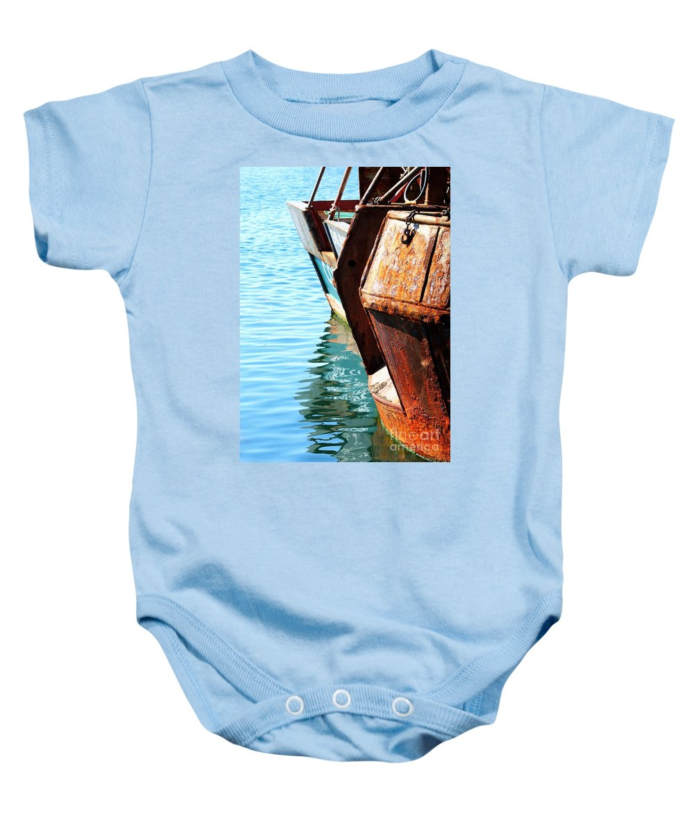 Boats Baby Onesie featuring the photograph Reflections Of A Rust Bucket by Carol Groenen