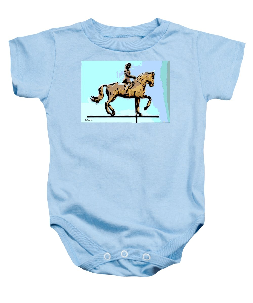 Horse Baby Onesie featuring the photograph Riding Copper by George Pedro