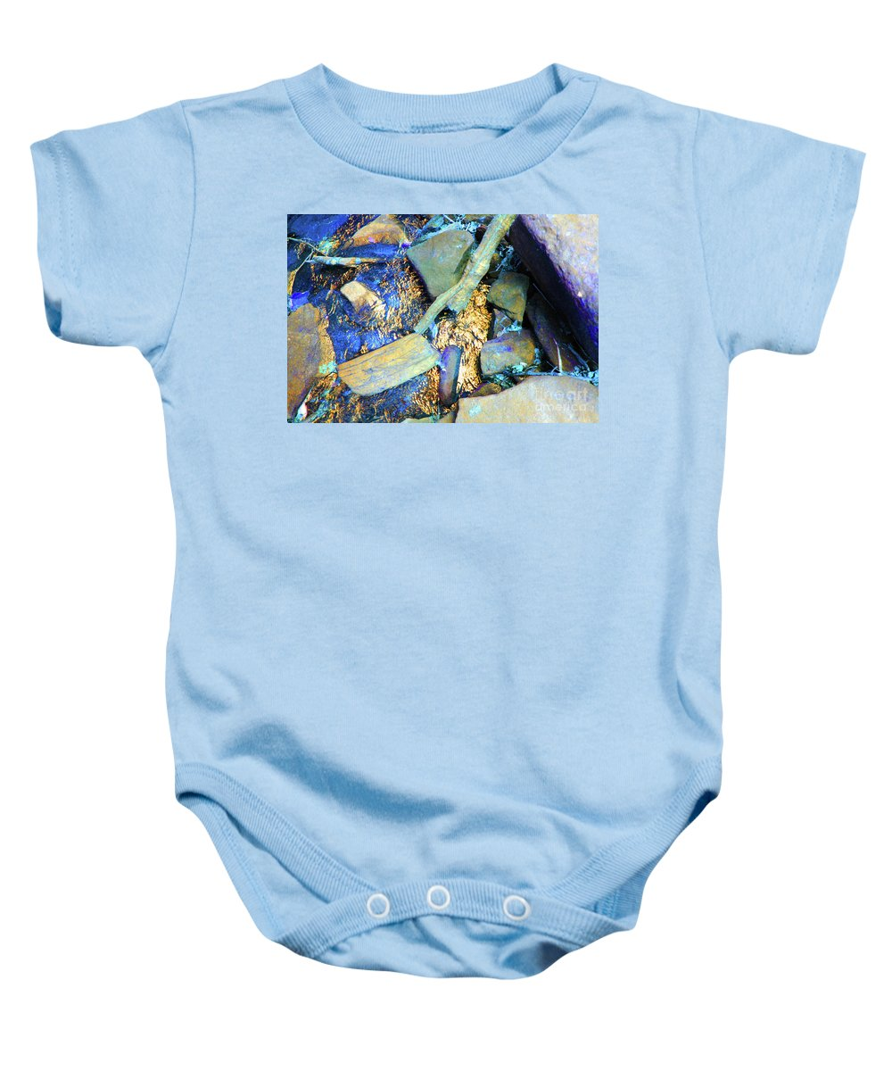 Waterfall Baby Onesie featuring the photograph Rocks Of Gold by Jost Houk