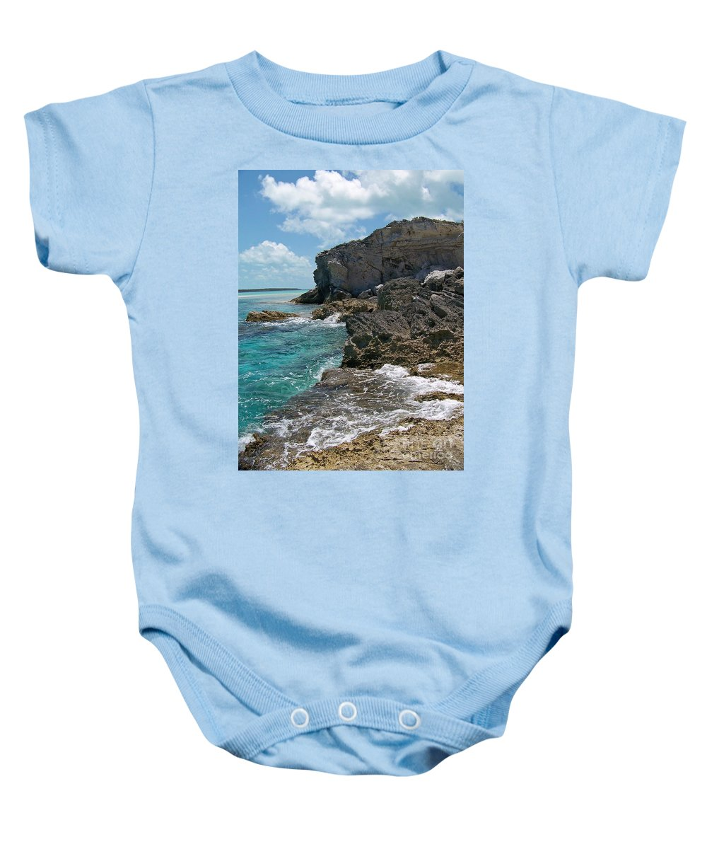 Rocky Baby Onesie featuring the photograph Rocky Barrier Island by Greg Hammond