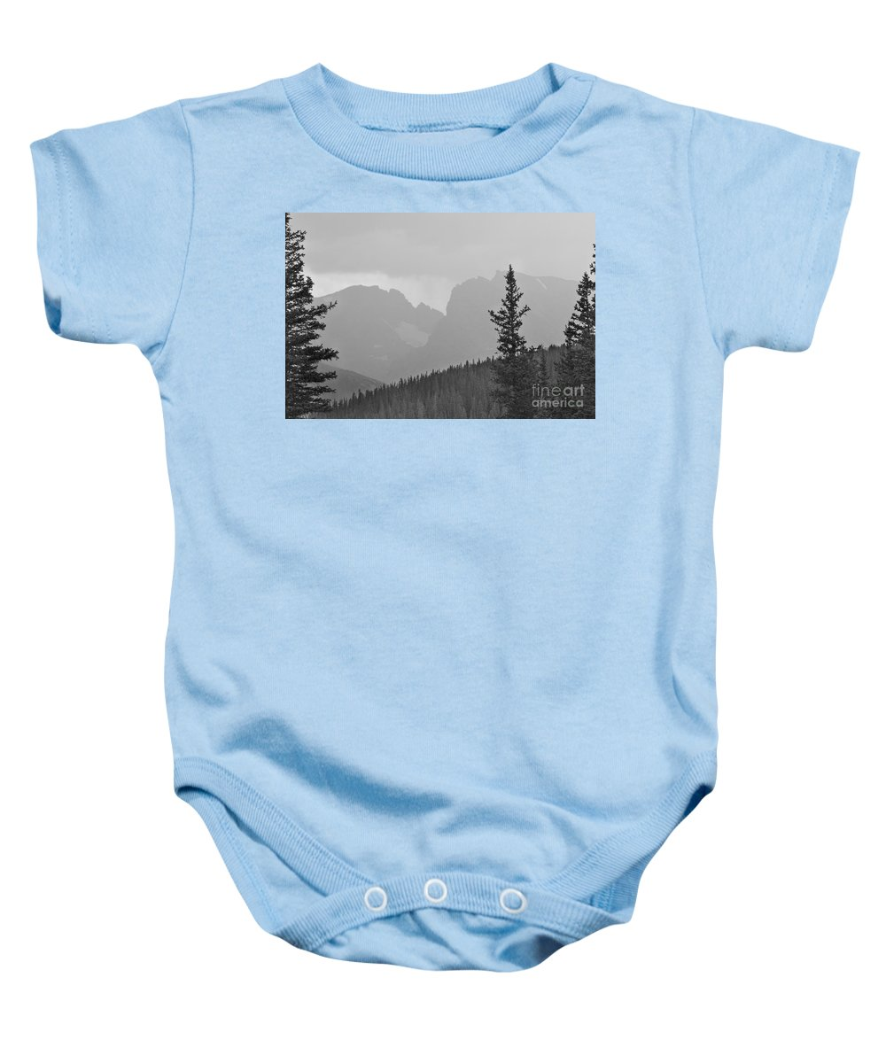 Colorado Baby Onesie featuring the photograph Rocky Mountain High Bw by James BO Insogna