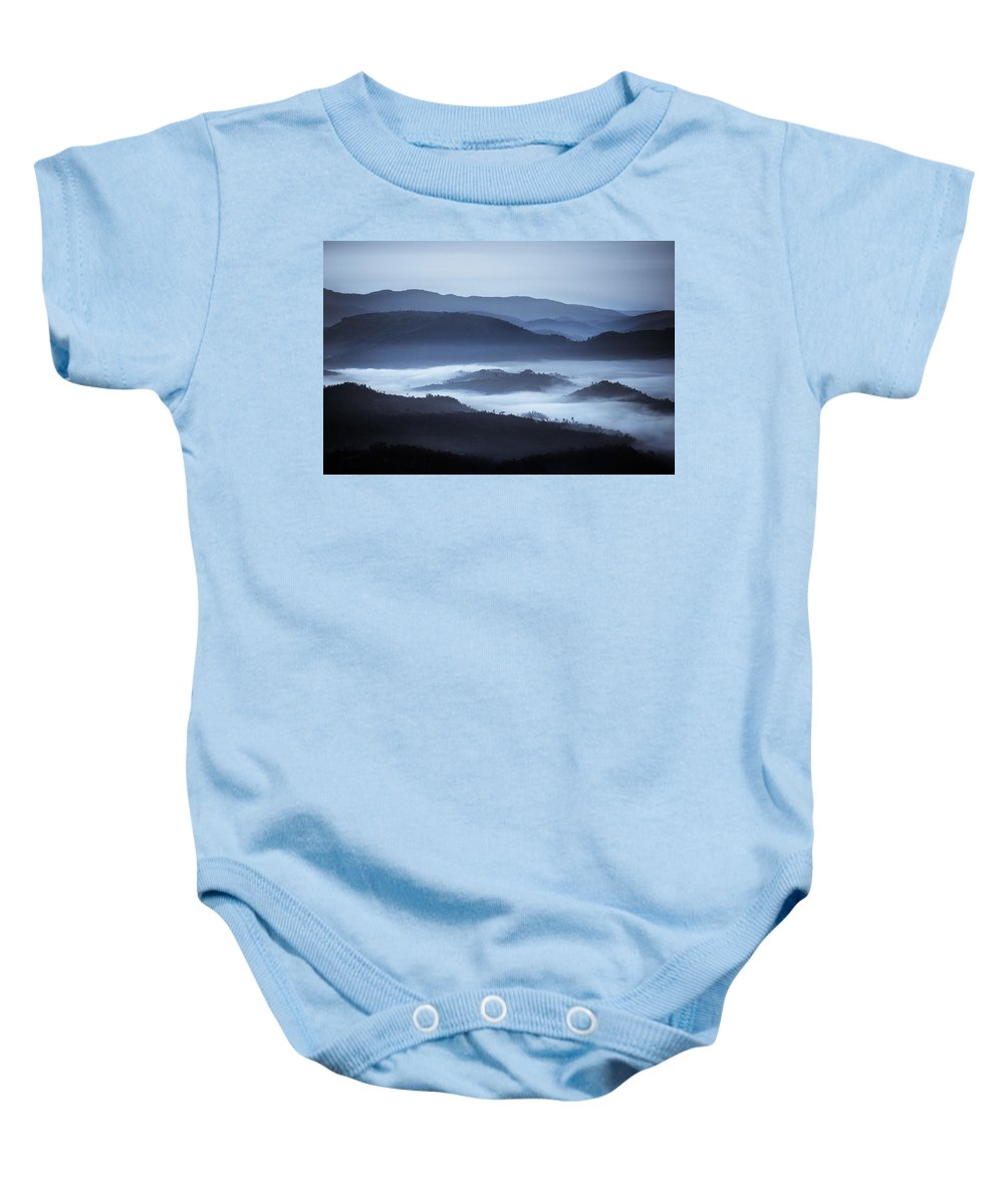 African Baby Onesie featuring the photograph Rolling Hills In The Fog, Rwanda, Africa by David DuChemin