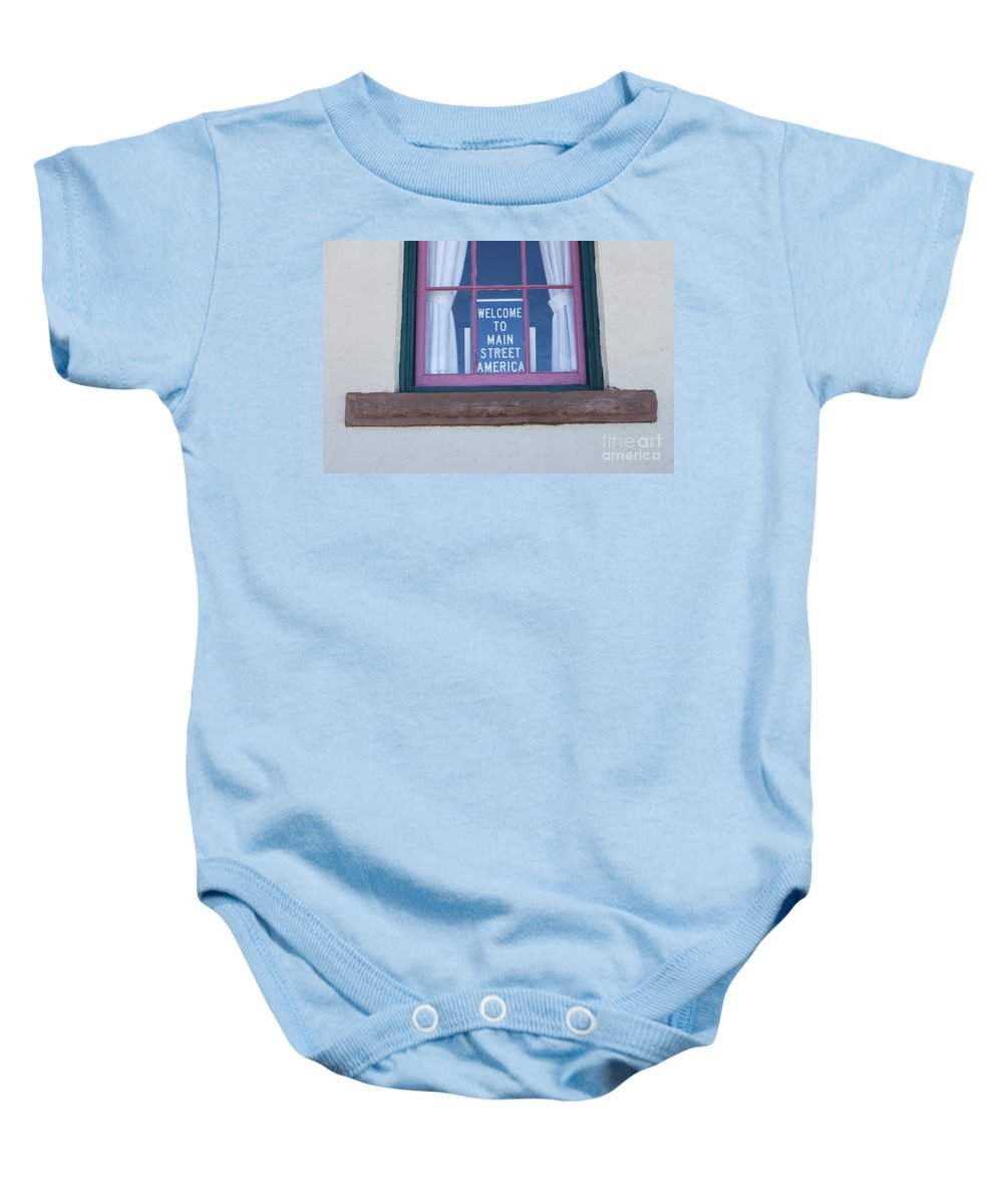 Wurlitzer Baby Onesie featuring the photograph Route 66 Welcome Sign by Bob Christopher