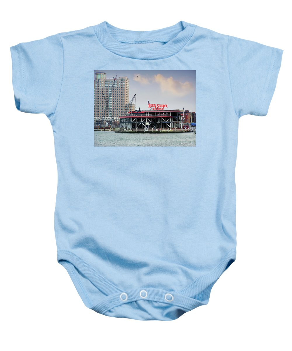 2d Baby Onesie featuring the photograph Rusty Scupper by Brian Wallace