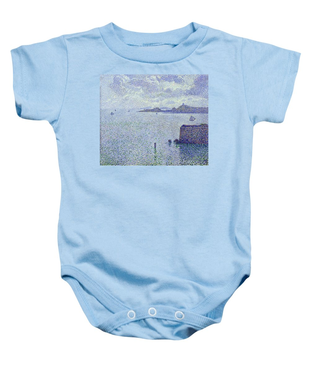 Voiliers Et Estuaire Baby Onesie featuring the painting Sailing Boats In An Estuary by Theo van Rysselberghe