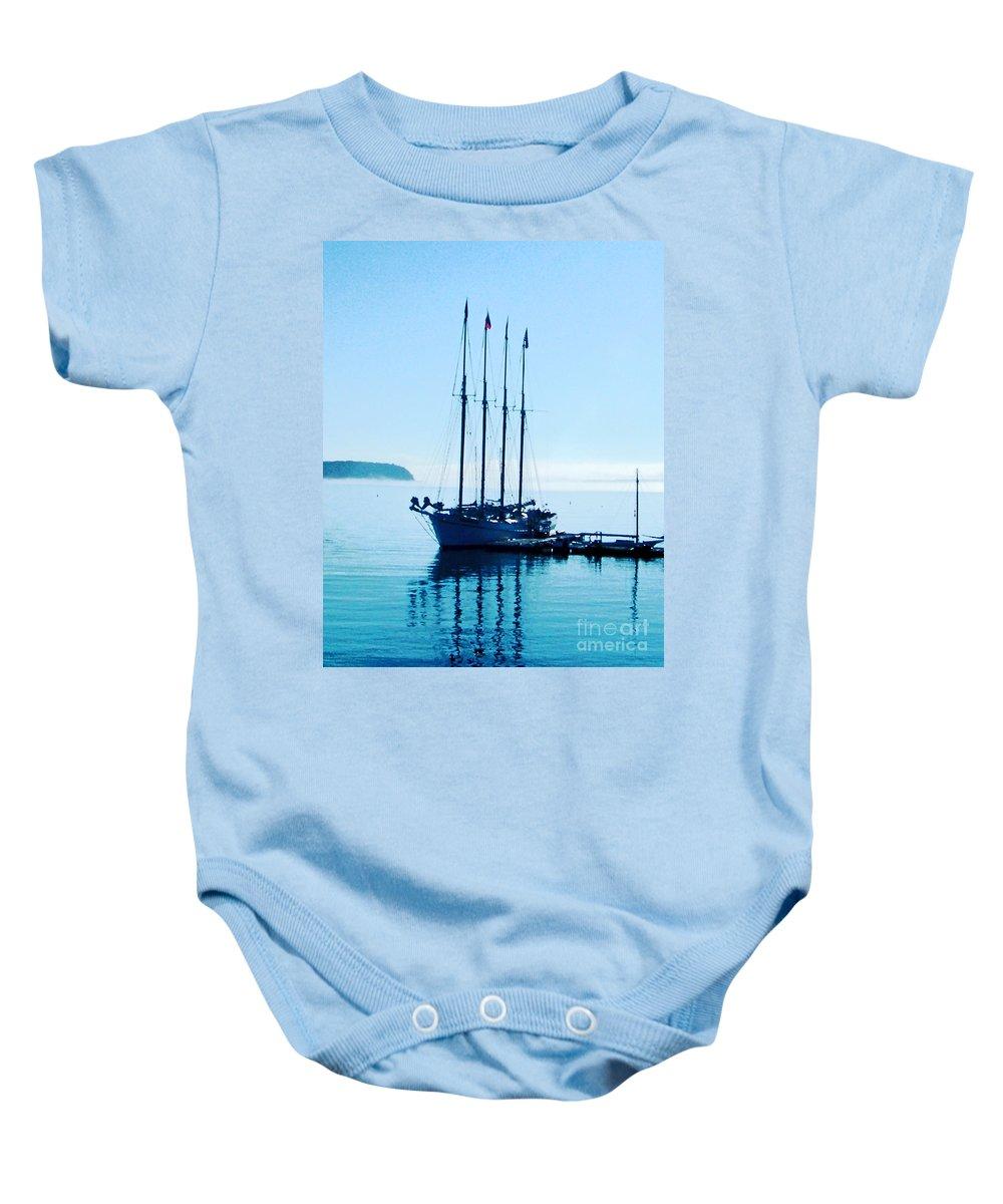Boat Baby Onesie featuring the digital art Schooner At Dock Bar Harbor Me by Lizi Beard-Ward