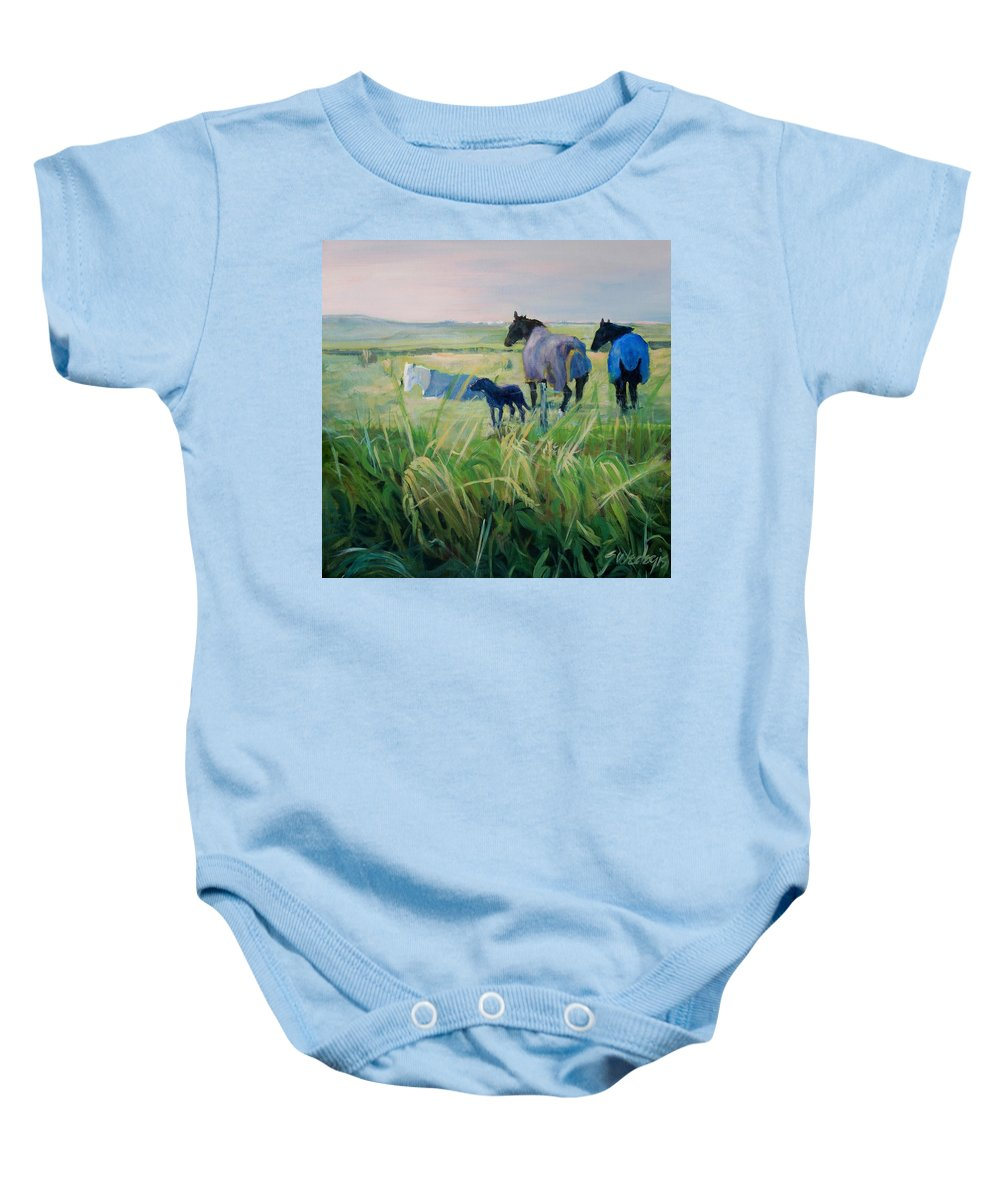 Horses Baby Onesie featuring the painting Scotland Fields by Sheila Wedegis