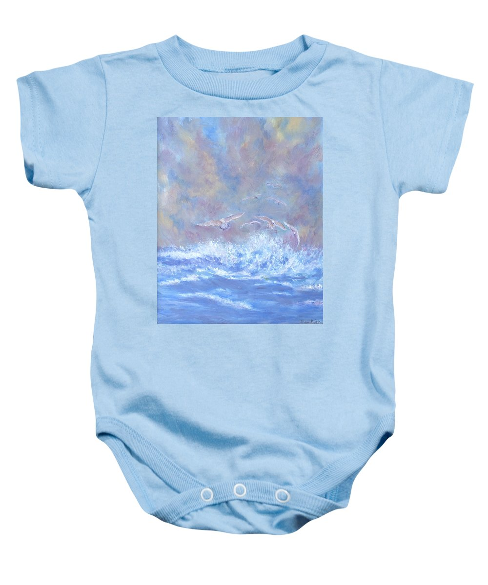 Seascape Baby Onesie featuring the painting Seagulls at Play by Ben Kiger