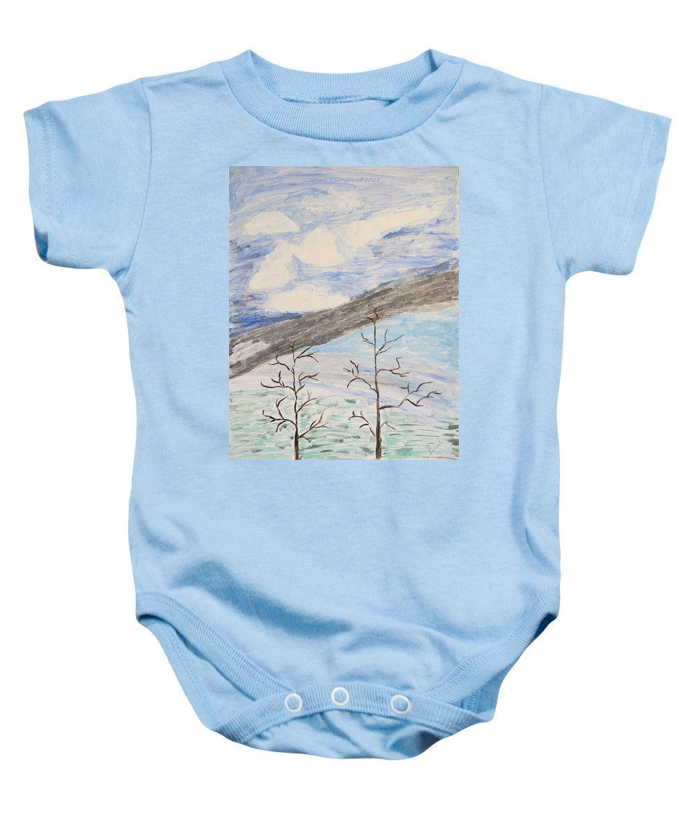 Shades Of Clouds In The Sky Baby Onesie featuring the painting Shades Of Nature by Sonali Gangane