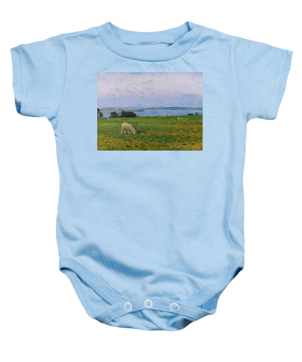 Sheep Baby Onesie featuring the painting Sheep Grazing by Viggo Johansen