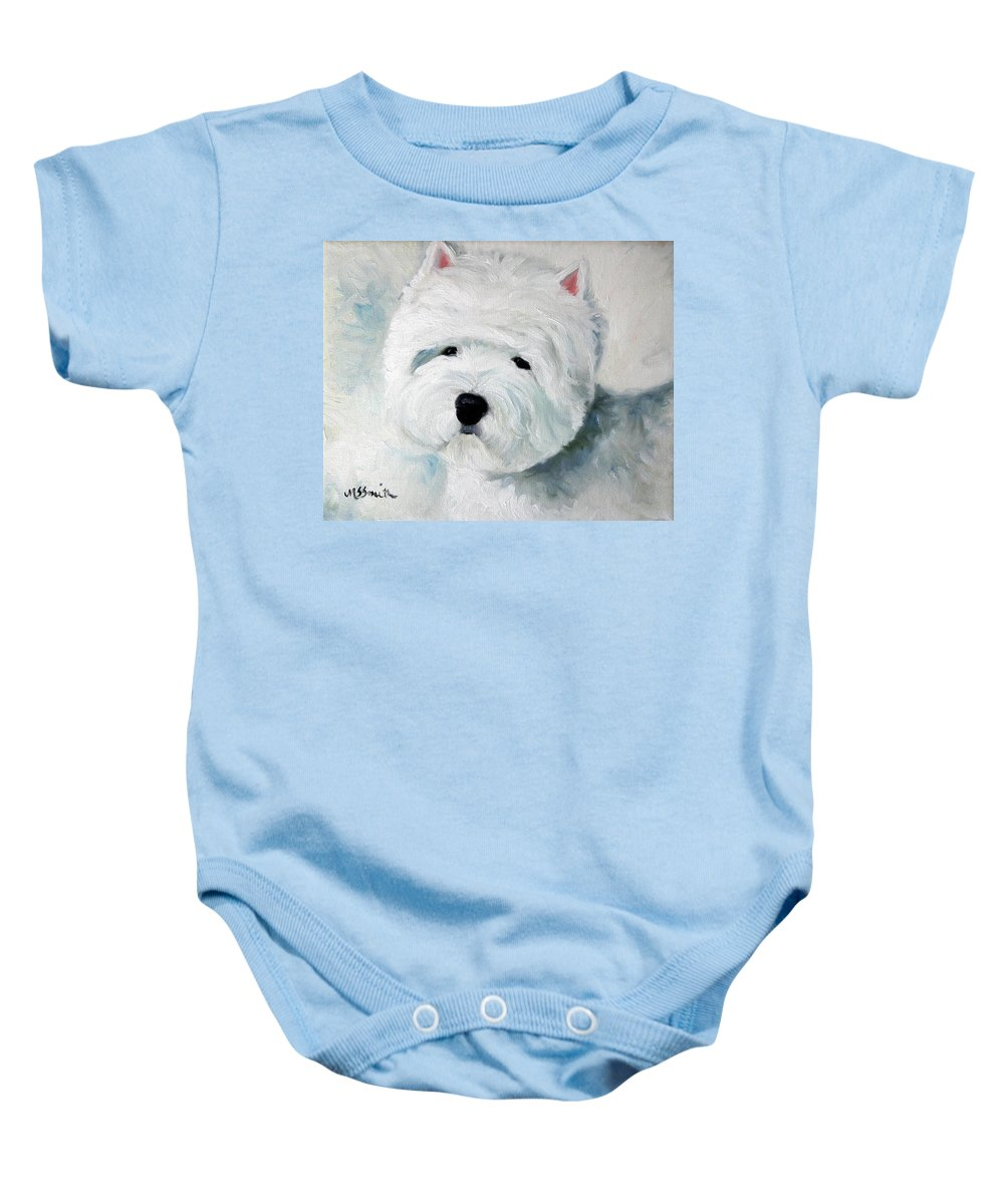 Art Baby Onesie featuring the painting Show Dog by Mary Sparrow
