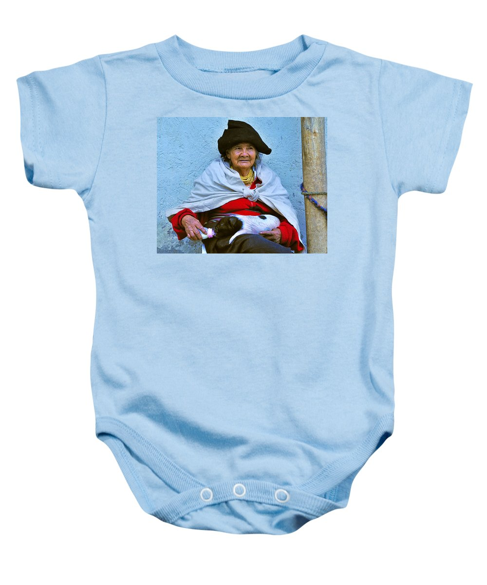 Otavalo Baby Onesie featuring the photograph Sitting Pretty by Tony Beck