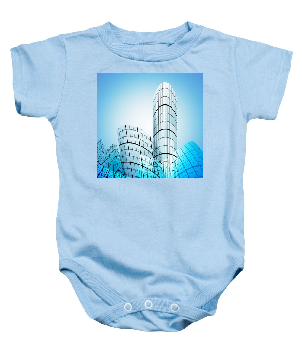 Abstract Baby Onesie featuring the photograph Skyscrapers In The City by Setsiri Silapasuwanchai