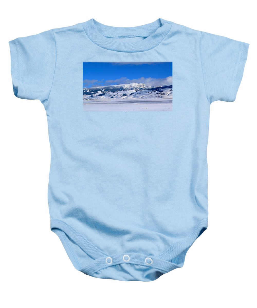 Blue Sky Baby Onesie featuring the photograph Sleeping Indian by Eric Tressler
