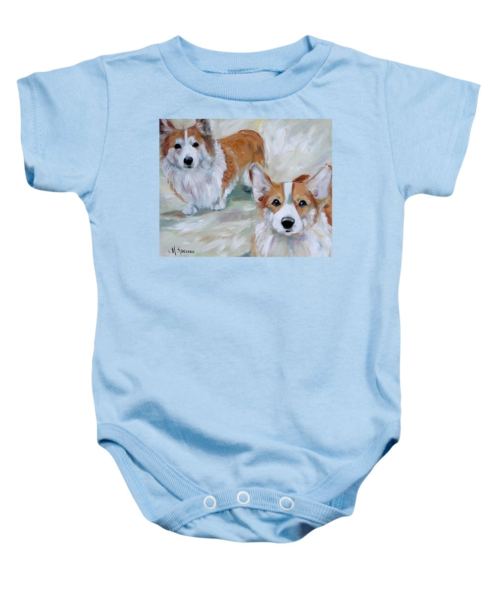 Art Baby Onesie featuring the painting Smarty And Rosie by Mary Sparrow