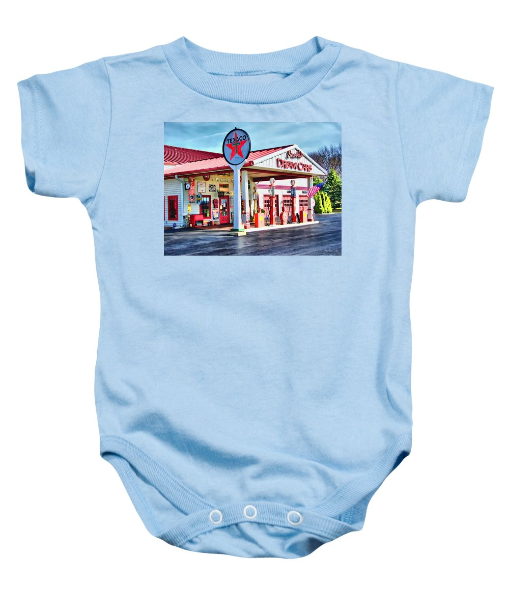 Texaco Gas Stations Baby Onesie featuring the digital art Snook's Classic Cars by Tom Schmidt