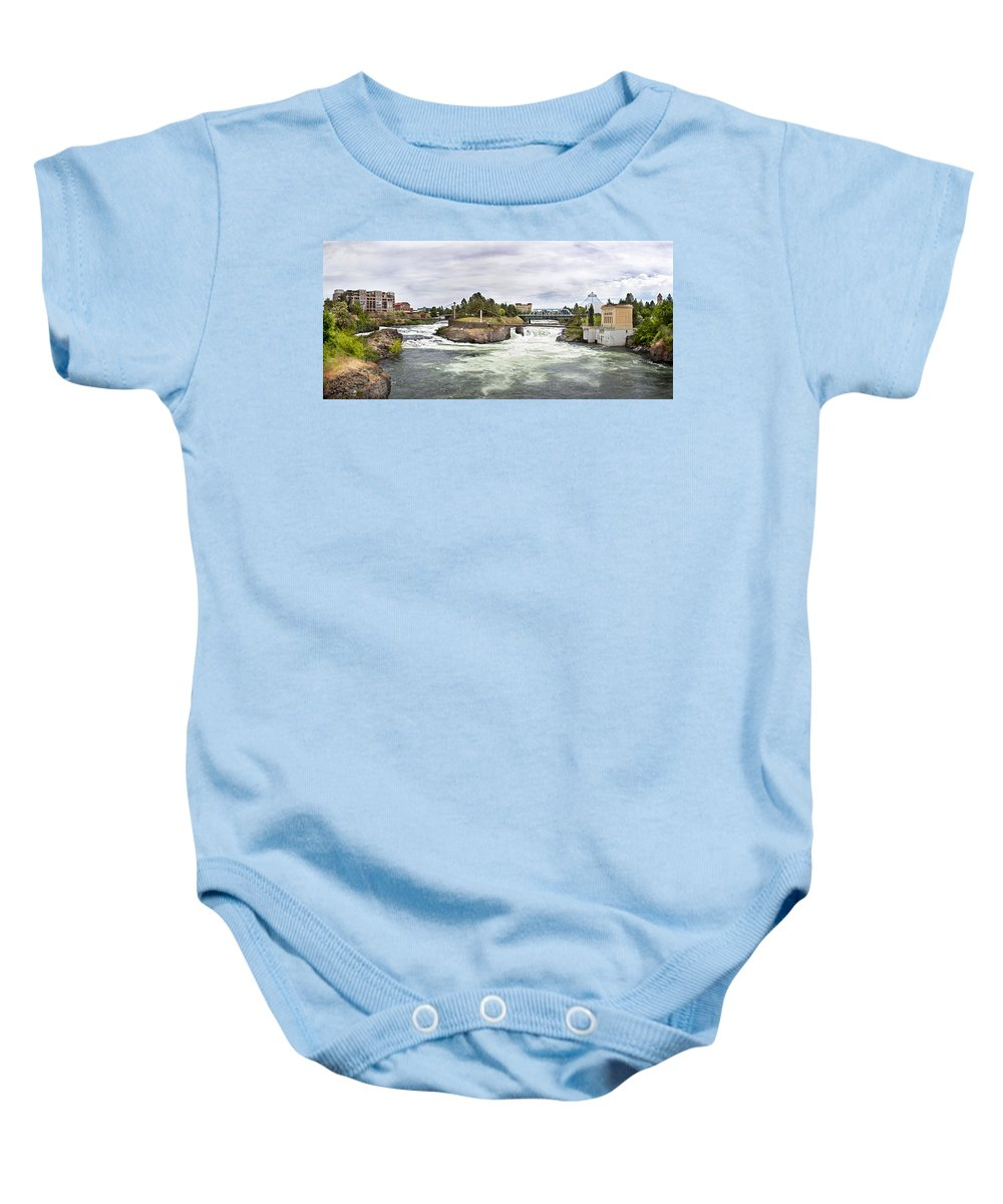 Scenic Baby Onesie featuring the photograph Spokane Falls From The Lincoln Street Bridge by Lee Santa
