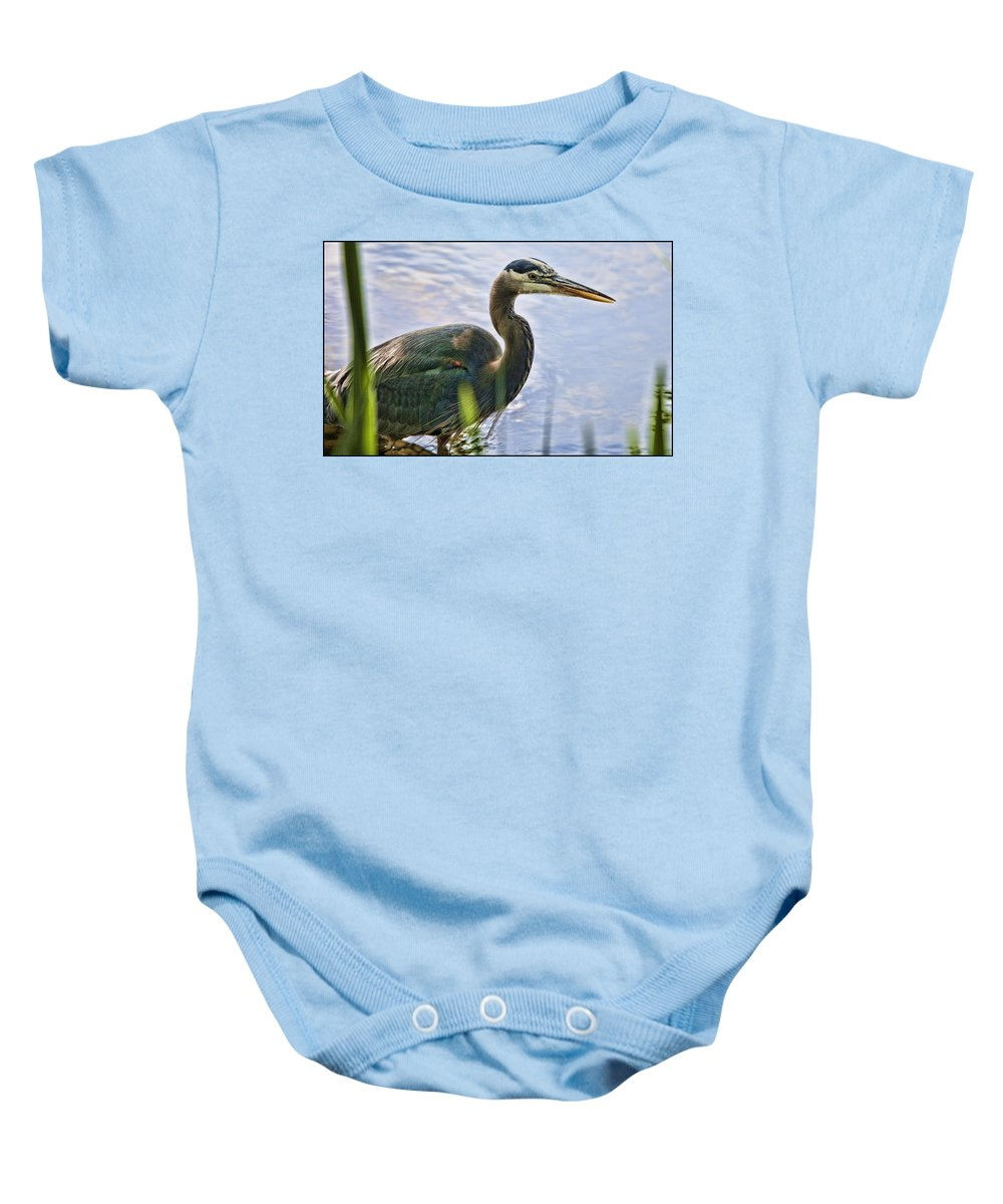 Great Blue Heron Baby Onesie featuring the photograph Spring Day by Karen Ulvestad