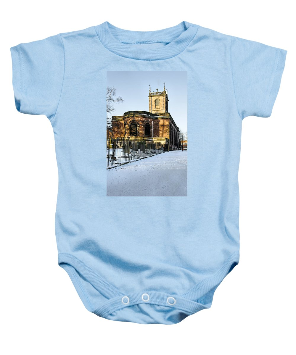 Burton On Trent Baby Onesie featuring the photograph St Modwen's Church - Burton - In The Snow by Rod Johnson