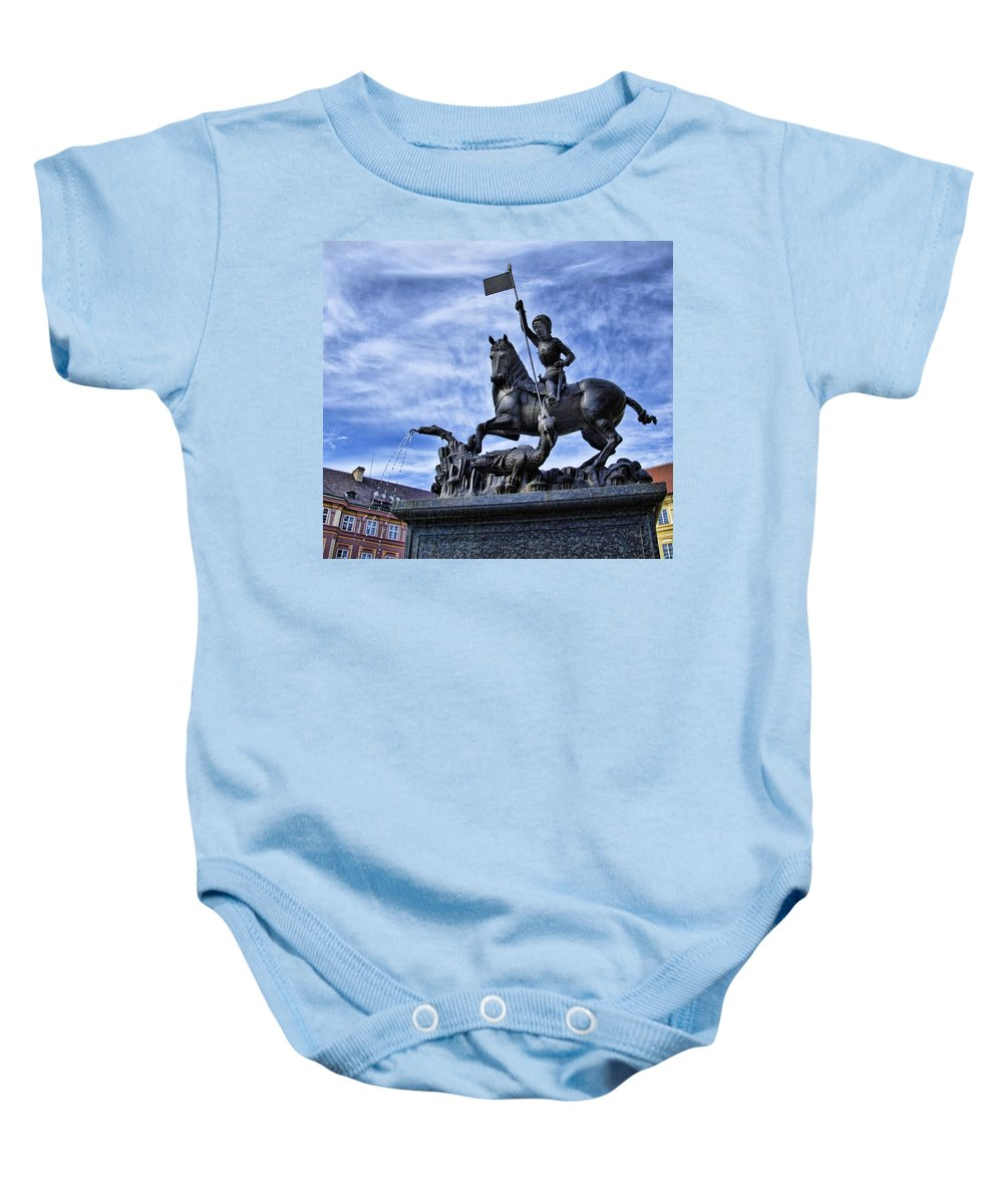 St Vitus Cathedral Baby Onesie featuring the photograph St Vitus Cathedral - St George Statue by Jon Berghoff