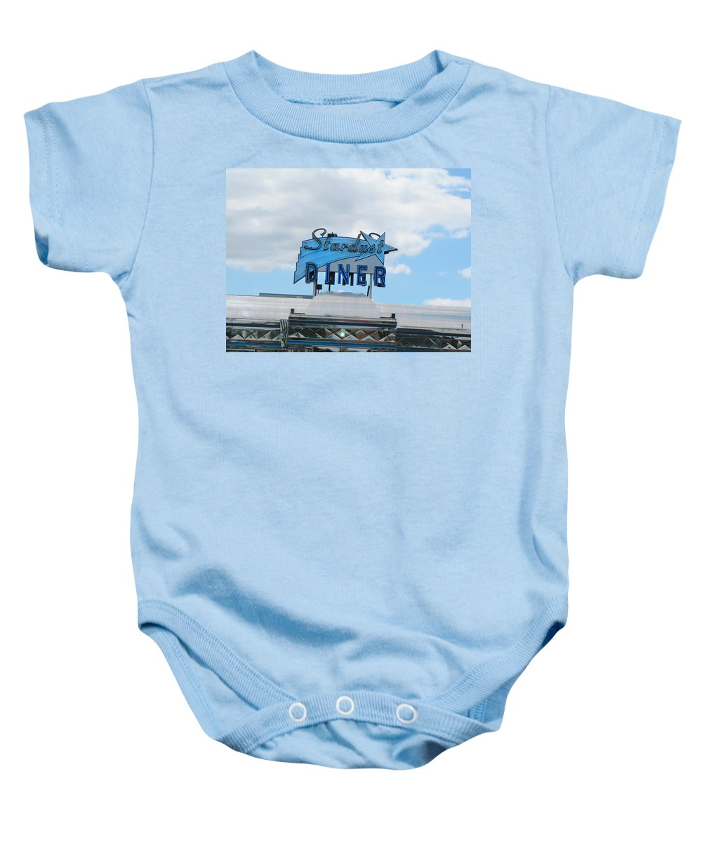 Diner Baby Onesie featuring the photograph Stardust Diner by Kathleen Grace