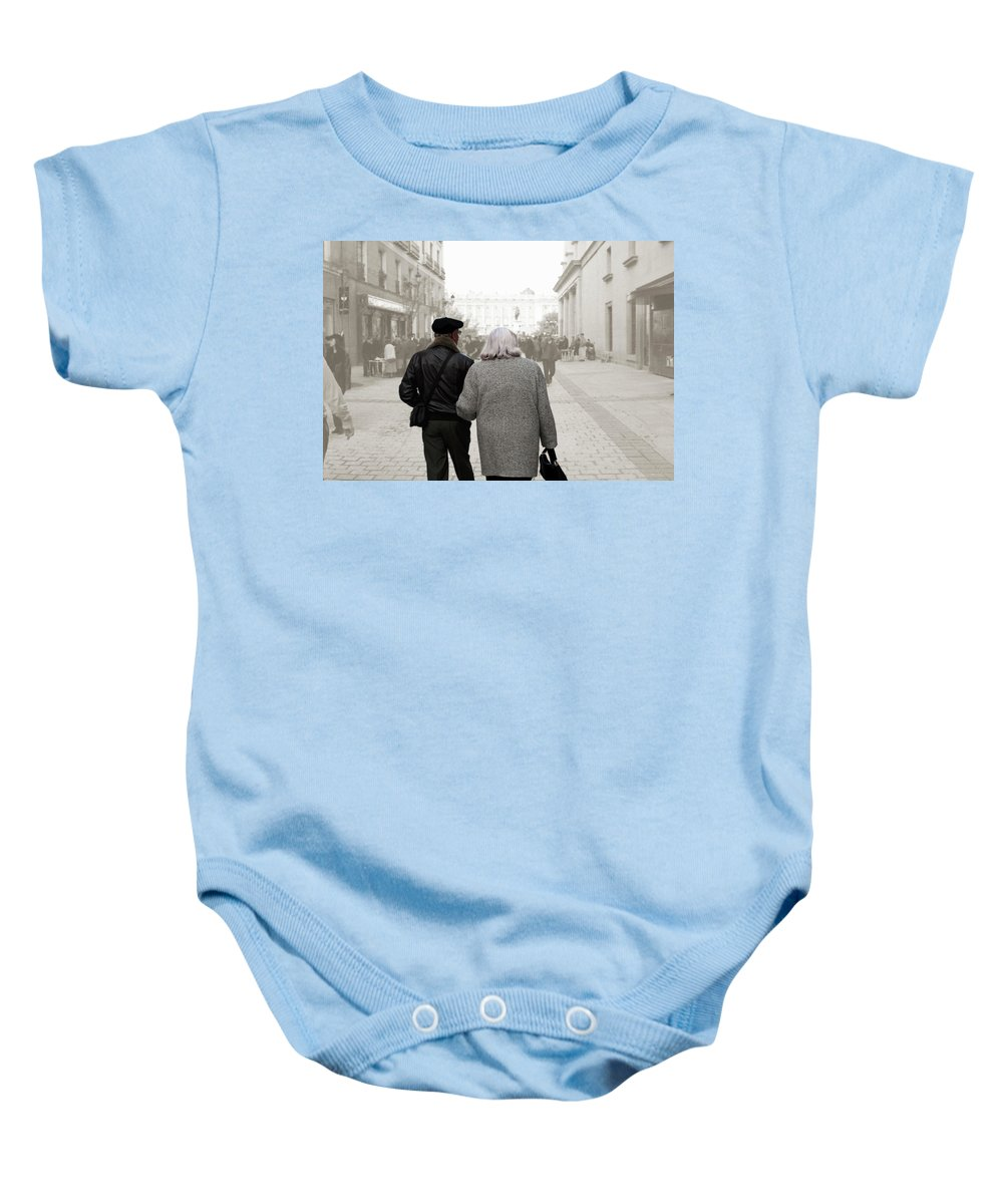 Spanish Couple Baby Onesie featuring the photograph Stepping Into The Scrim by Lorraine Devon Wilke