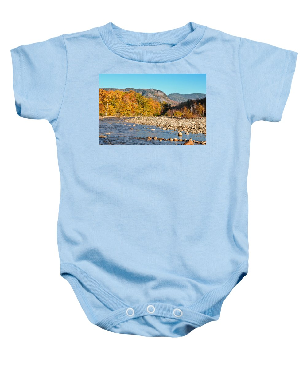 Sunrise Baby Onesie featuring the photograph Sunlight On The Saco by Geoffrey Bolte