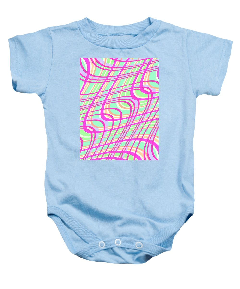 Swirly Check Baby Onesie featuring the digital art Swirly Check by Louisa Knight