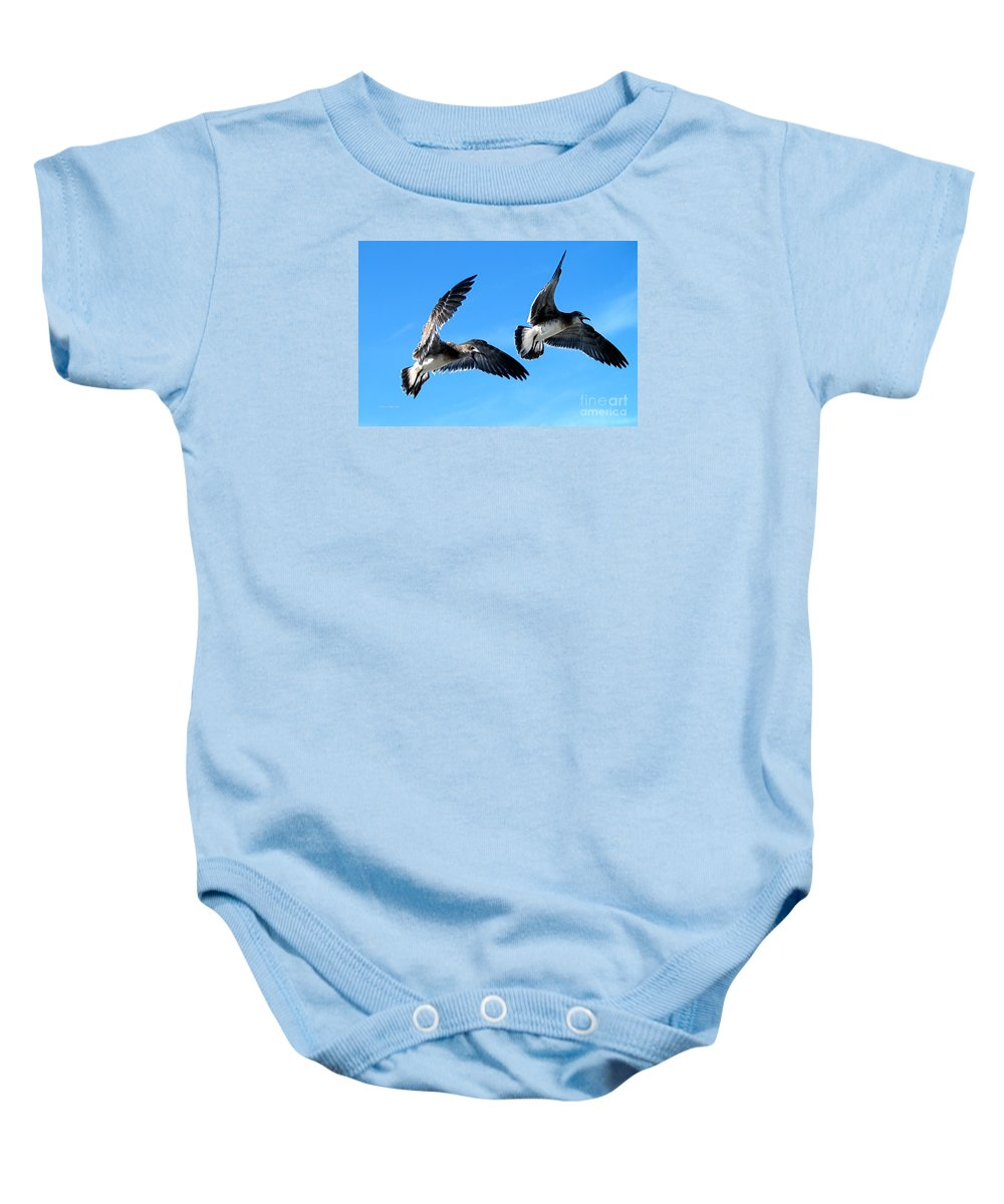 Fine Art Photography Baby Onesie featuring the photograph Synchronized Flying by Patricia Griffin Brett
