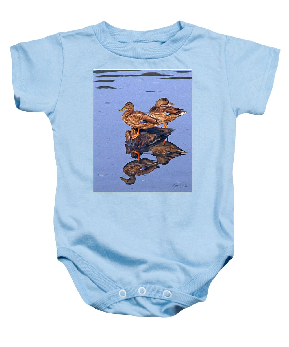 Mallards Baby Onesie featuring the photograph Tattle Tale by Maggie Magee Molino