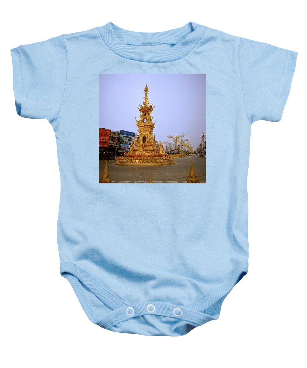Clock Baby Onesie featuring the photograph Thai Clock Tower by Shaun Higson