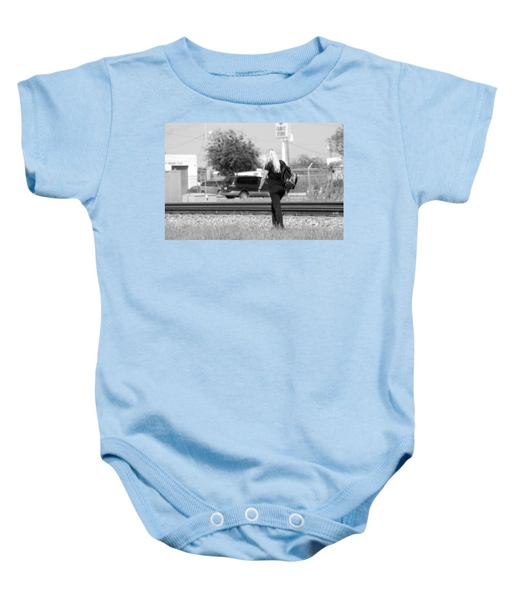 Black And White Baby Onesie featuring the photograph The Blond Hiker by Rob Hans