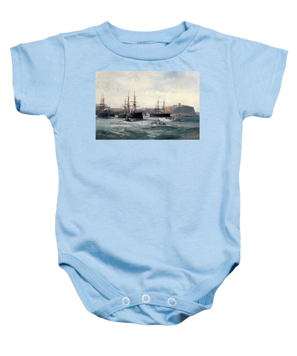 Tug; Ship Baby Onesie featuring the painting The Channel Fleet Off Scarborough by William Lionel Wyllie