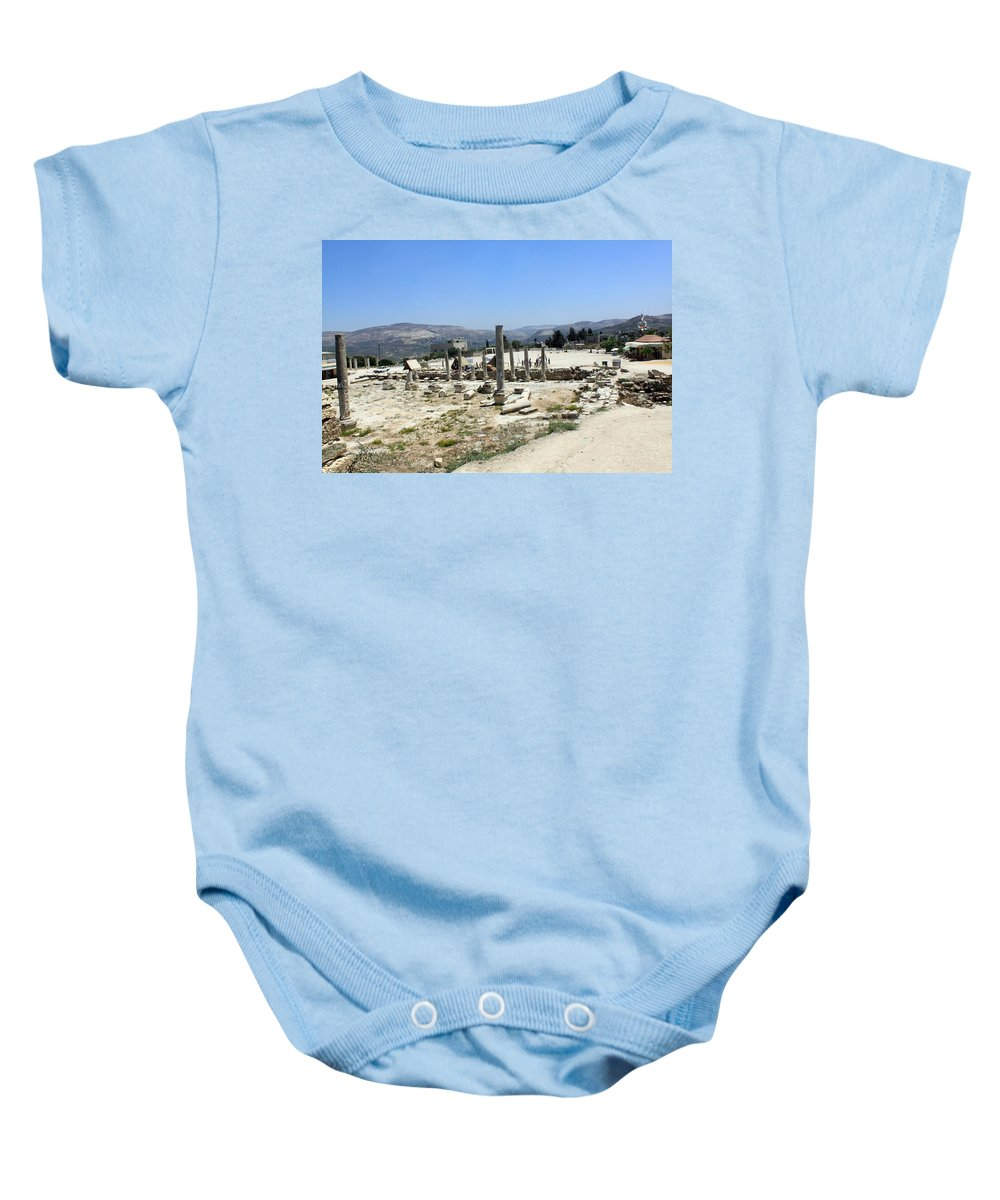 Forum Baby Onesie featuring the photograph The Forum At Sebastia by Munir Alawi