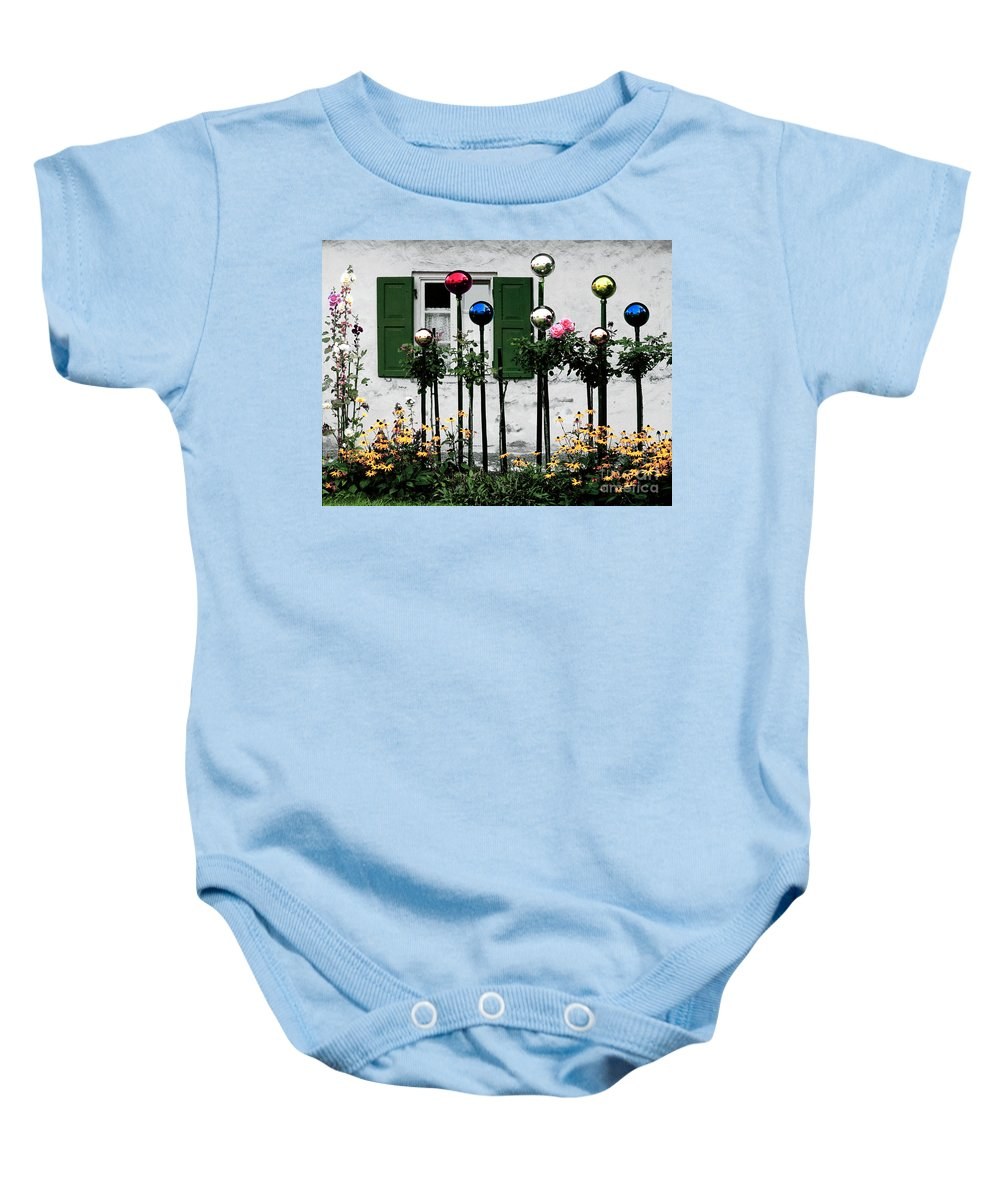 Glass Baby Onesie featuring the photograph The Glass Balls by Mike Nellums