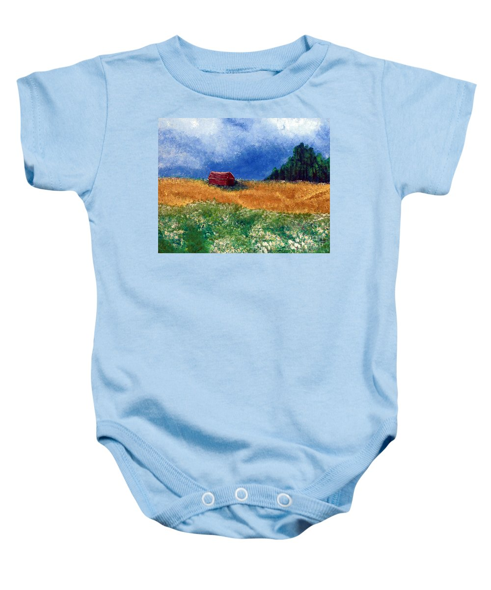 Weathered Baby Onesie featuring the painting The Old Red Barn by Alys Caviness-Gober