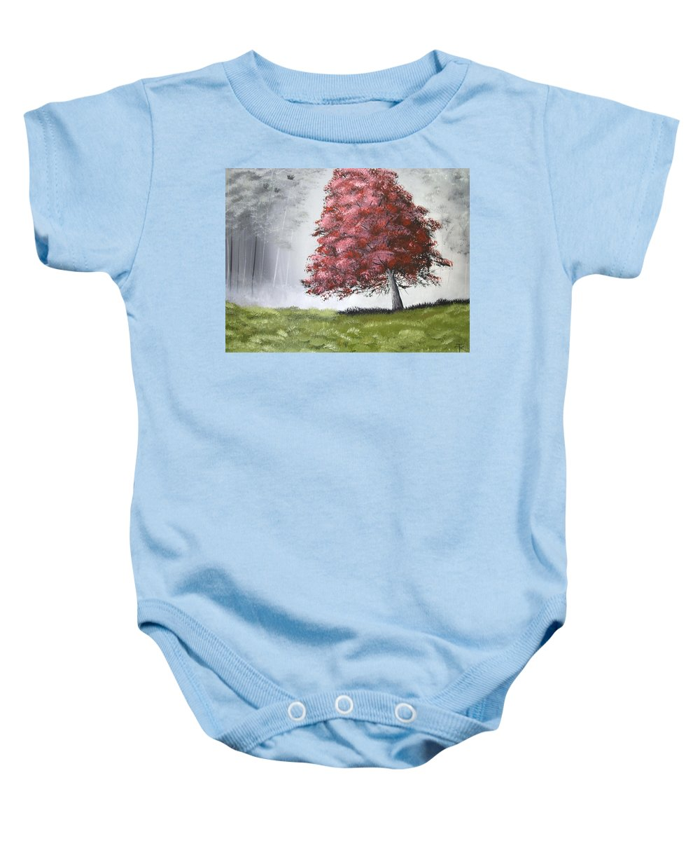 Forest Baby Onesie featuring the painting The Red Tree by Trudy Kepke