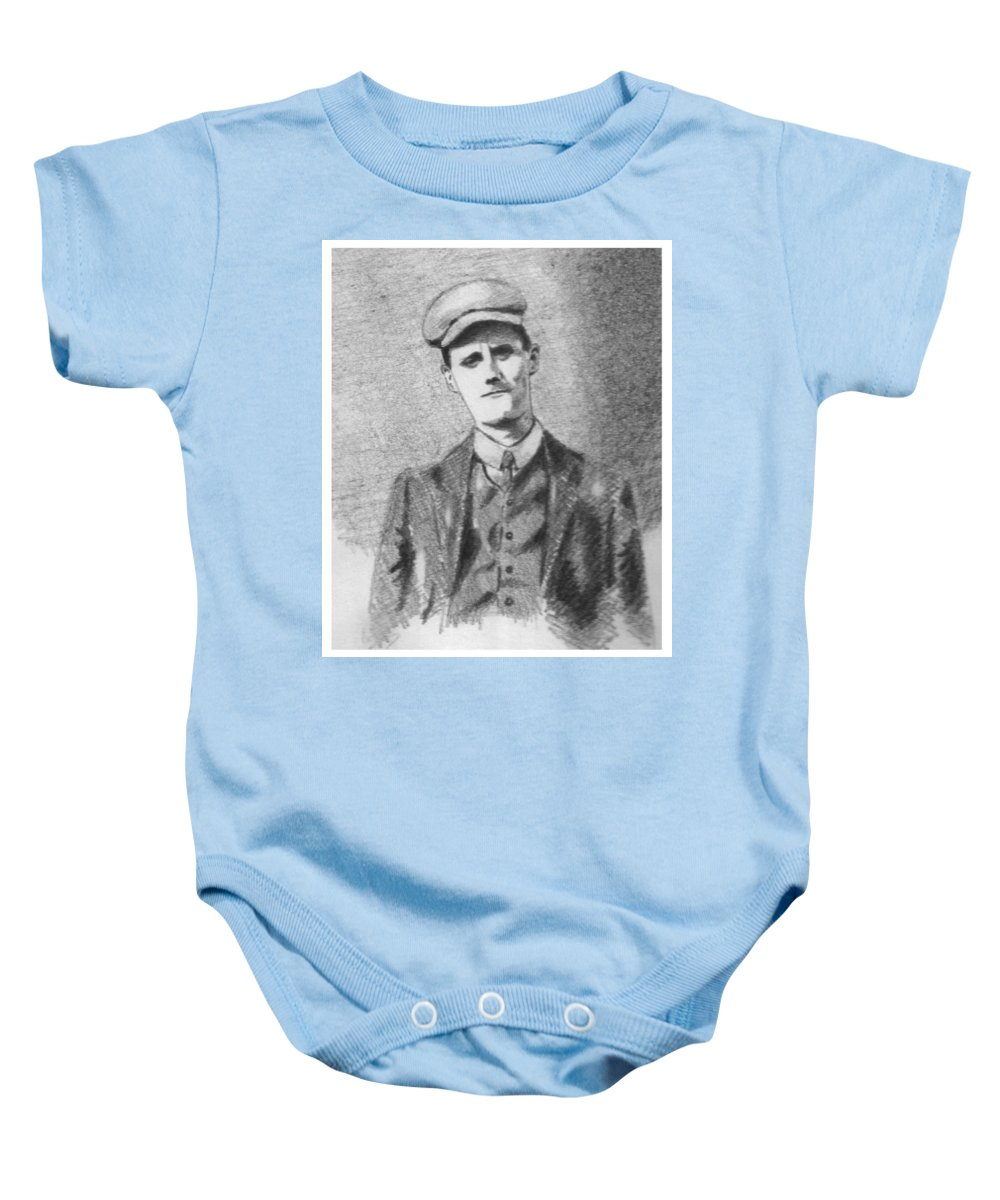 Pencil Baby Onesie featuring the drawing The Young James Joyce by John Nolan