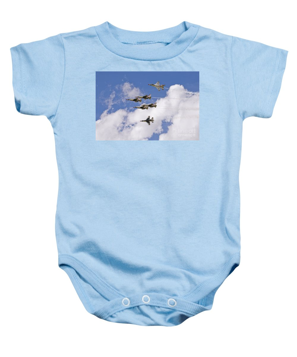 Usaf Baby Onesie featuring the photograph Thunderbirds Solos Break by Tim Mulina