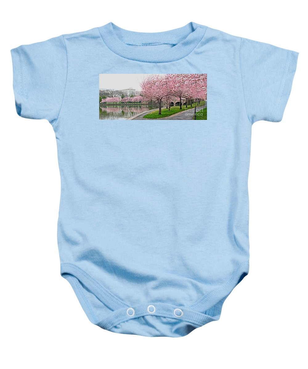 Tidal Basin Baby Onesie featuring the photograph Tidal Basin Near Jefferson Memorial by Jack Schultz