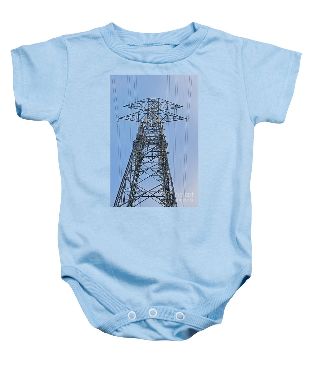 Towers Baby Onesie featuring the photograph Towers And Lines by Randy Harris