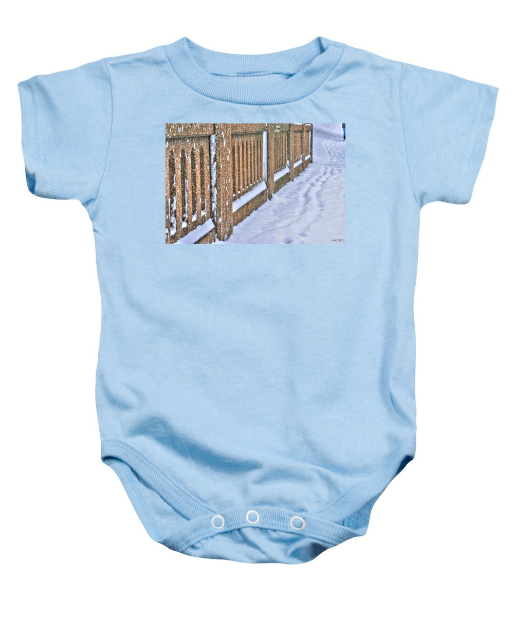 Baby Onesie featuring the photograph Tracks In The Snow by Michael Frank Jr