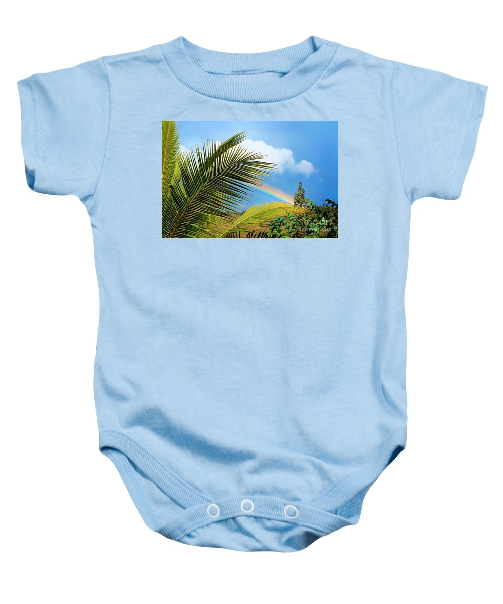 Rainbow Baby Onesie featuring the photograph Tropical Rainbow by Ellen Cotton
