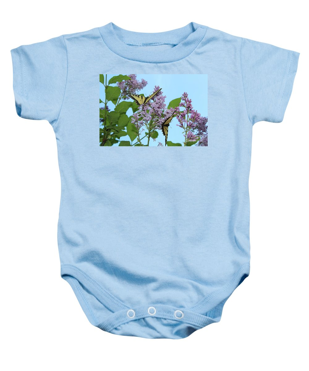 Swallowtails Baby Onesie featuring the photograph Two Swallowtails by Stephanie Kripa