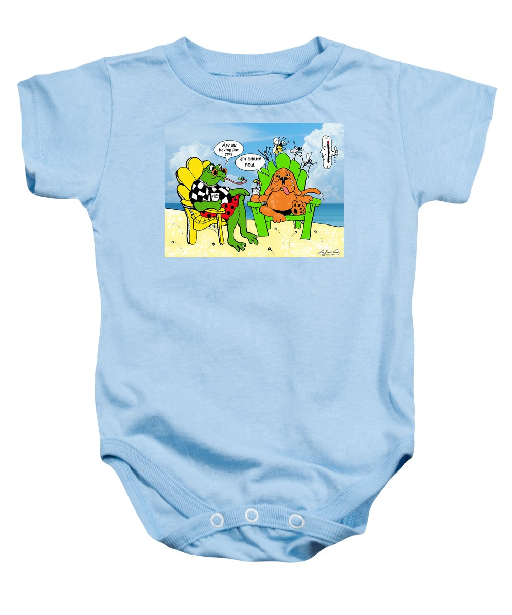 Humor Baby Onesie featuring the drawing Vacation Blues by Lizi Beard-Ward