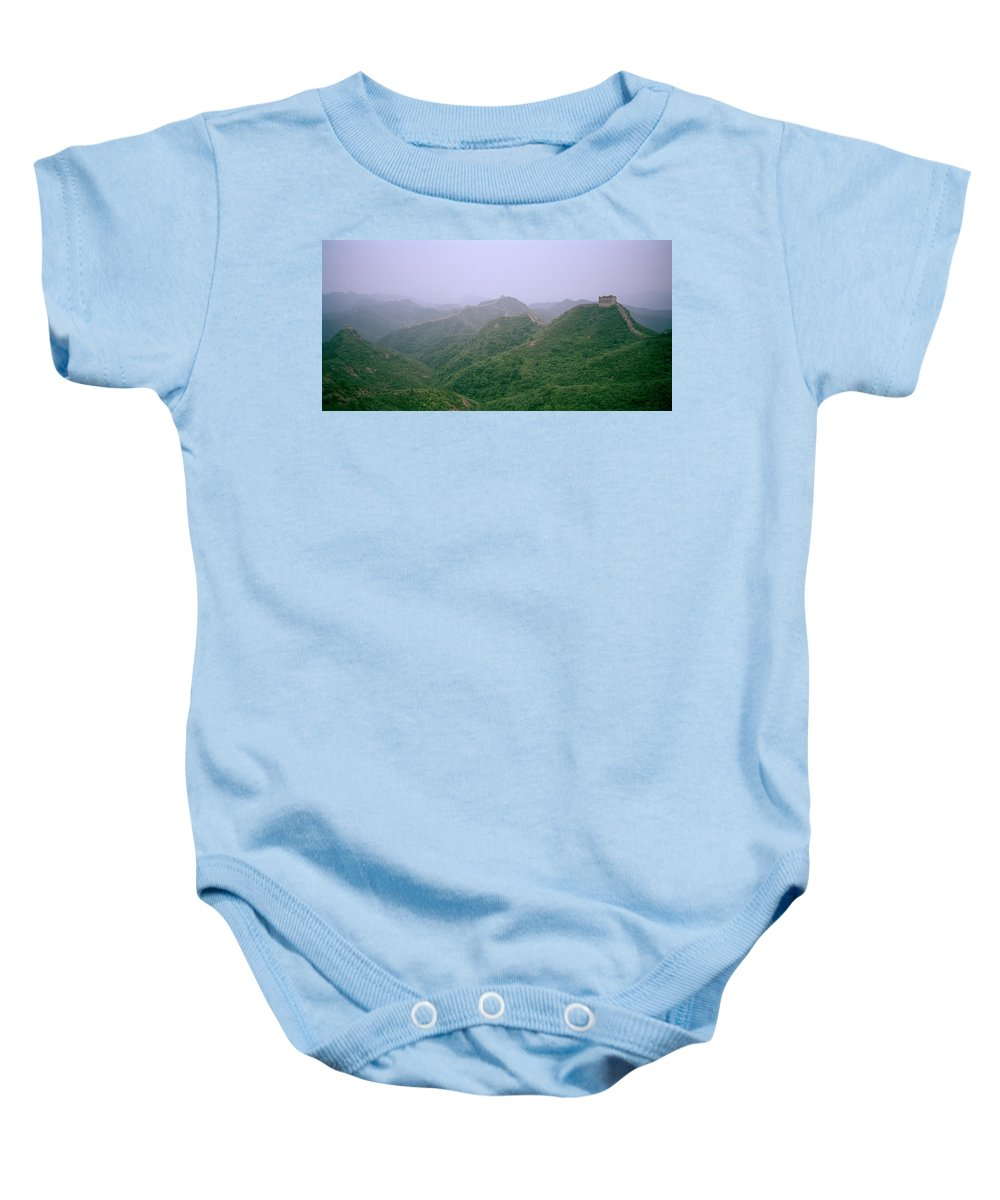 China Baby Onesie featuring the photograph View Of The Great Wall Of China by Shaun Higson