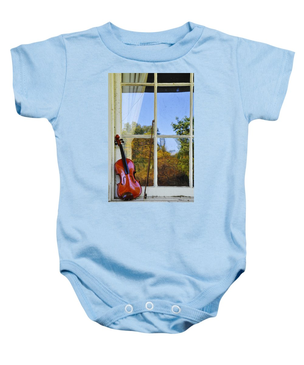 Violin Baby Onesie featuring the photograph Violin On A Window Sill by Bill Cannon