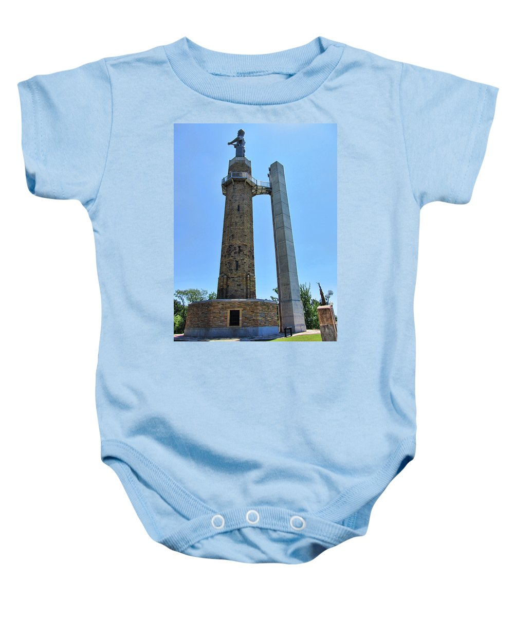 Vulcan Park Baby Onesie featuring the photograph Vulcan Park Statue Birmingham Alabama Usa by Kathy Clark
